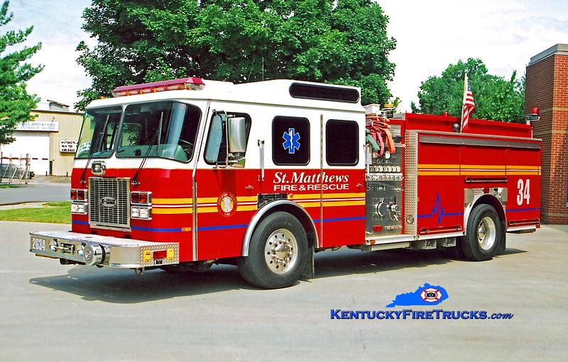 RETIRED<br /> St. Matthews Engine 2634<br /> 1995 E-One Cyclone TC 1500/500<br /> Kent Parrish photo