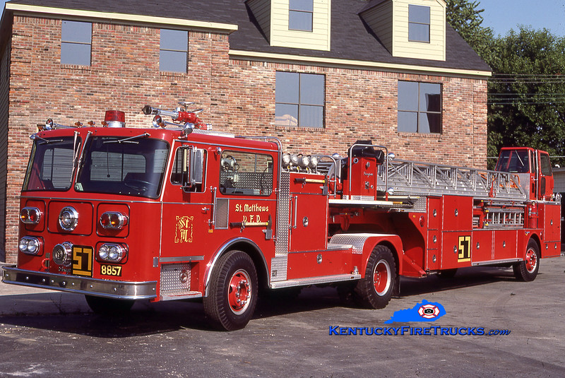 RETIRED<br /> St. Matthews Truck 8857<br /> 1980 Seagrave HT 100'<br /> Kent Parrish collection