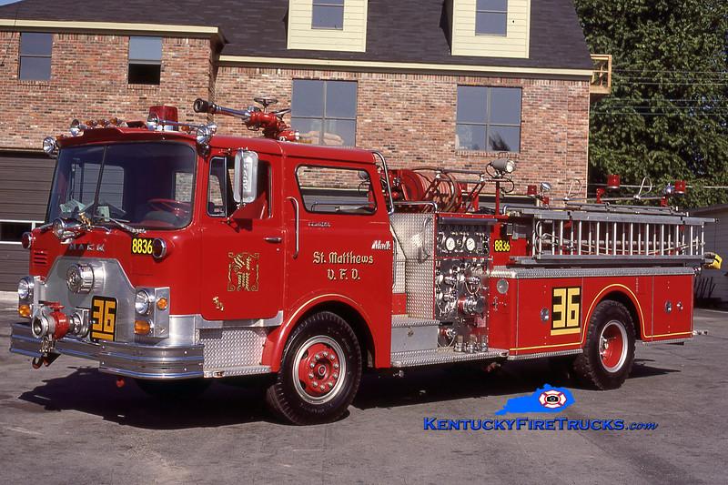 RETIRED <br /> St. Matthews Engine 8836 <br /> 1973 Mack CF 1500/500 <br /> Kent Parrish collection