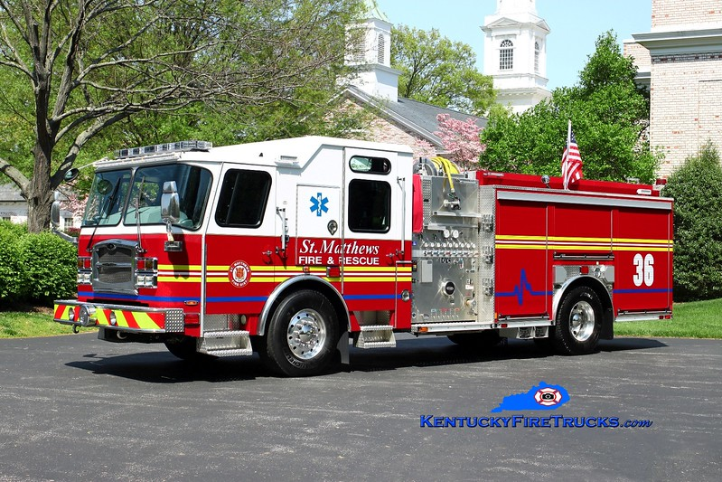<center> St. Matthews  Engine 2636 <br> 2014 E-One Typhoon 1500/500 <br> Kent Parrish photo </center>