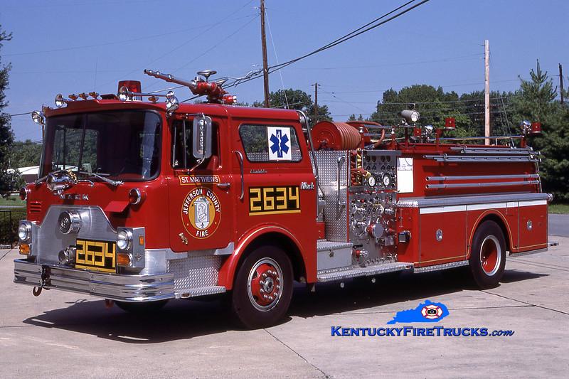 RETIRED<br /> St. Matthews Engine 2634<br /> x-Engine 8834 <br /> 1976 Mack CF 1500/500<br /> Kent Parrish collection