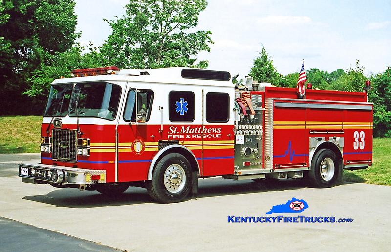RETIRED<br /> St. Matthews Engine 2633<br /> 1994 E-One Cyclone TC 1500/500<br /> Kent Parrish photo