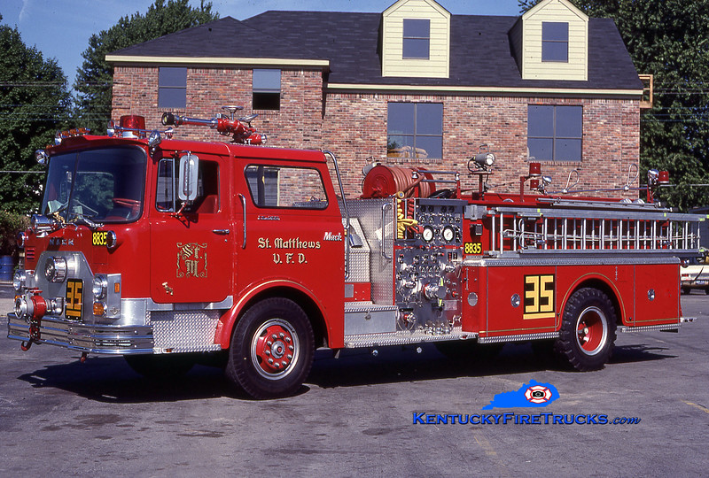 RETIRED<br /> St. Matthews Engine 8835<br /> 1976 Mack CF 1500/500<br /> Kent Parrish collection