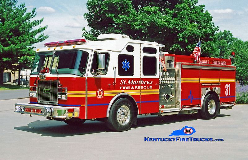 RETIRED<br /> St. Matthews Reserve Engine 2631<br /> 1999 E-One Cyclone II 1500/500<br /> Kent Parrish photo
