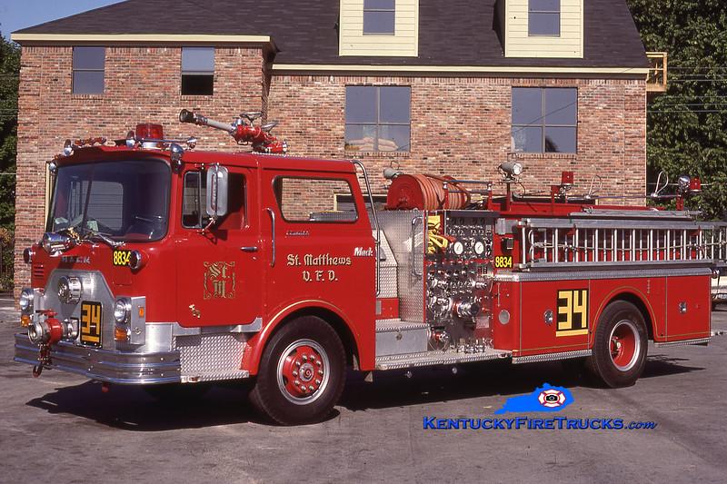 RETIRED<br /> St. Matthews Engine 8834 <br /> 1976 Mack CF 1500/500<br /> Kent Parrish collection