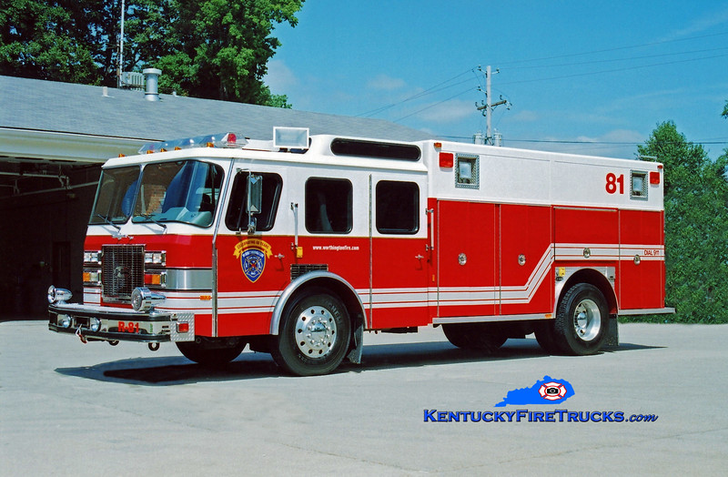 <center> RETIRED  <br> Worthington Rescue 1881 <br> 1992 E-One Protector TC <br> Kent Parrish photo </center>