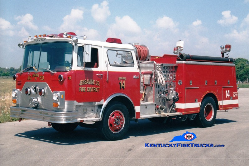 <center> RETIRED <BR> Jessamine County  Engine 14 <br> x-Barren Hill, PA <br> 1978 Mack CF 1250/750 <br> Greg Stapleton photo <br> </center>