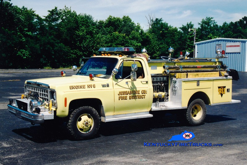 <center> RETIRED <BR> Jessamine County  Engine 8 <br> 1978 Chevy 4x4/Pierce 250/250 <br> Greg Stapleton photo <br> </center>