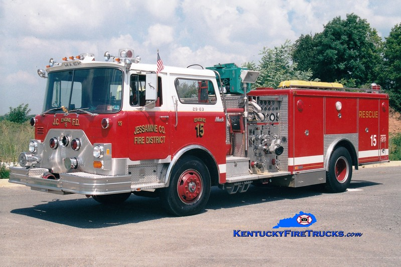 <center> RETIRED <br> Jessamine County  Engine 15 <br> x-Barren Hill, PA <br> 1982 Mack CF/Swab 1500/250/Rescue <br> Greg Stapleton photo <br> </center>