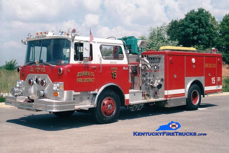 <center> RETIRED <br> Jessamine County  Engine 15 <br> x-Barren Hill, PA <br> 1982 Mack CF/Swab 1500/250/Rescue <br> Greg Stapleton photo <br> </center>
