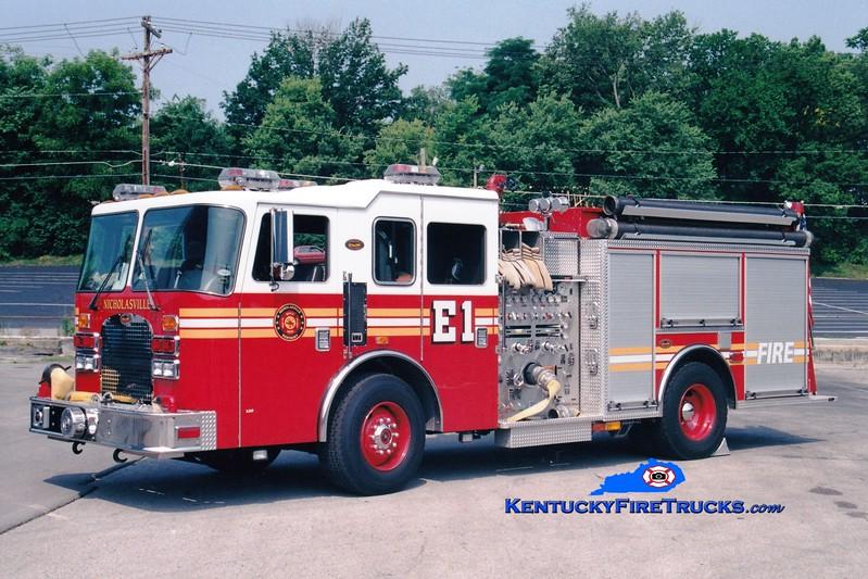 <center> Nicholasville  Engine 1 <br> 1999 KME Excel 1500/1000 <br> Greg Stapleton photo <br> </center>