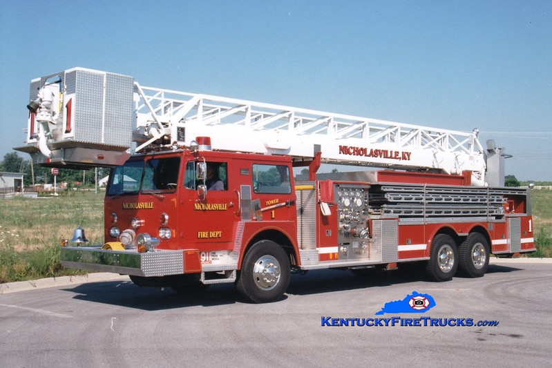 <center> RETIRED <br> Nicholasville  Tower 1 <br> 1976 Hendrickson/Hamerly/LTI/1996 Custom Fire 1250/400/85' <br> Greg Stapleton photo <br> </center>