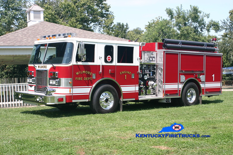 <center> Wilmore  Engine 1 <br> Reassigned as Engine 81 <br> 2007 Pierce Contender 1500/1000/30 <br> Kent Parrish photo </center>