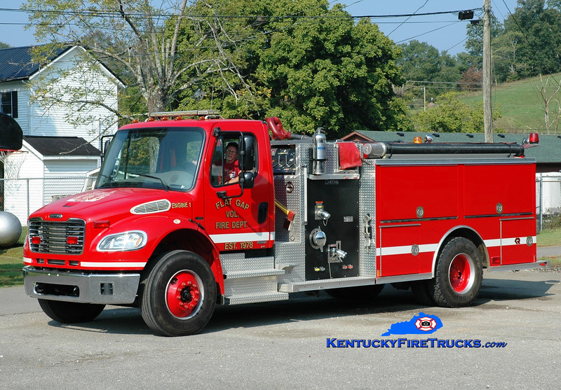<center> Flat Gap  Engine 1  <br> 2006 Freightliner M2-106/Rosenbauer-Central 1250/1000 <br> Greg Stapleton photo </center>