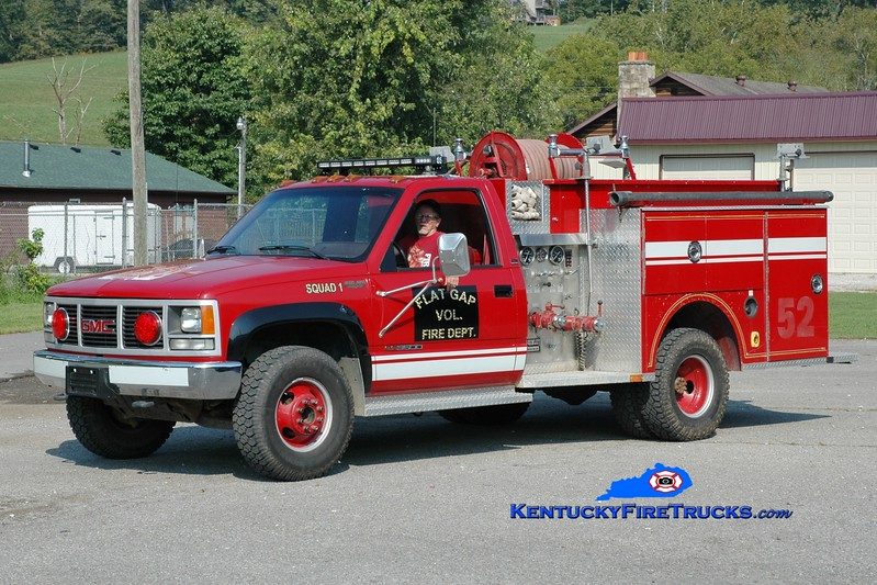 <center> Flat Gap  Squad 1  <br> x-Advance, IN <br> 1990 GMC 3500 4x4/McGinley 250/250 <br> Greg Stapleton photo </center>