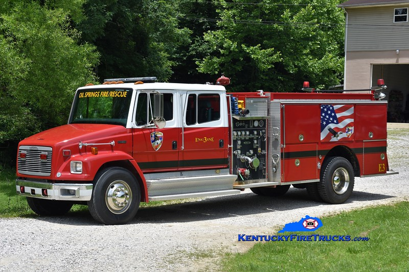 Oil Springs  Engine 3<br /> x-St Johns County, FL<br /> 1995 Freightliner FL80/Pierce 1250/1000<br /> Greg Stapleton photo