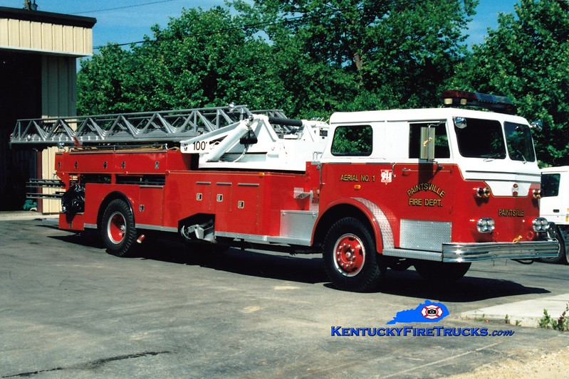 <center> RETIRED <br> Paintsville  Aerial 1  <br> x-South Bend, IN <br> 1963 Maxim/Magirus/1984 WWE 100' <br> Greg Stapleton photo </center>