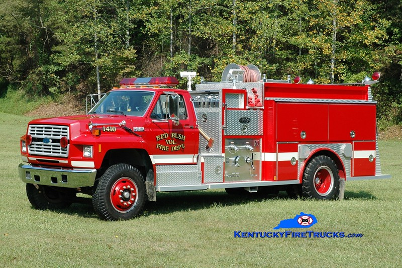 <center> Red Bush  Engine 1410  <br> 1991 Ford F-800/Allegheny 1000/1000 <br> Greg Stapleton photo </center>