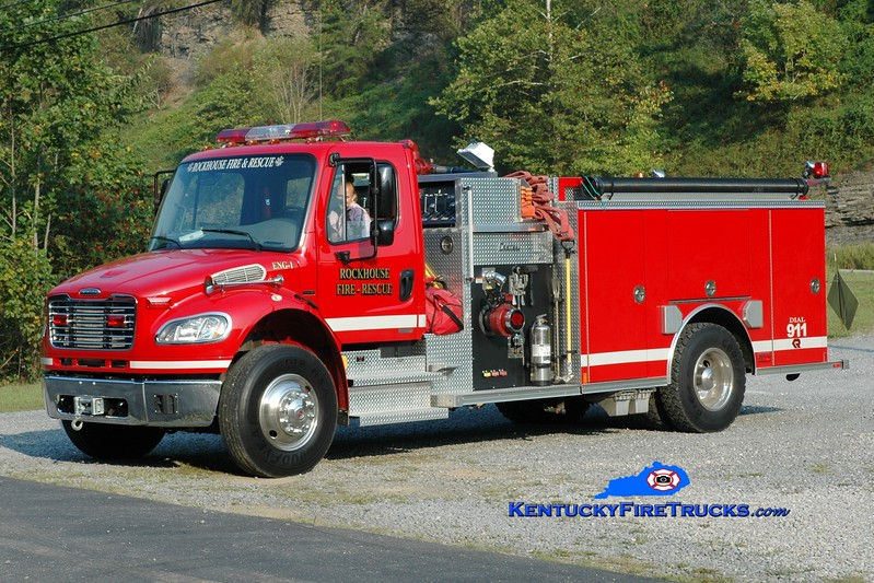<center> Rockhouse  Engine 1  <br> 2006 Freightliner M2-106/Rosenbauer-Central 1250/1000 <br> Greg Stapleton photo </center>