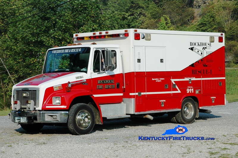 <center> Rockhouse   Rescue 1 <br> x-Paintsville EMS, KY <br> 1995 Freightliner FL60/Bridgers Coach  <br> Greg Stapleton photo </center>