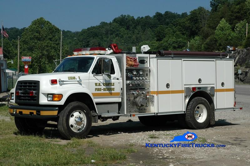 <center> W.R. Castle  Engine 1  <br> 1998 Ford F-800/E-One 1250/1000 <br> Greg Stapleton photo </center>