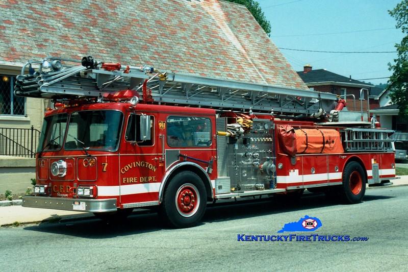 <center> RETIRED <br> Covington  Truck 7 <br> 1987 Seagrave WR 1250/300/100'  <br> Greg Stapleton photo </center>