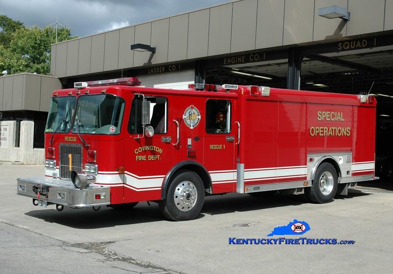 <center> RESERVE <br> Covington  Rescue 1 <br> x-Highland Heights, KY <br> 1997 Spartan Advantage/Hackney  <br> Greg Stapleton photo </center>