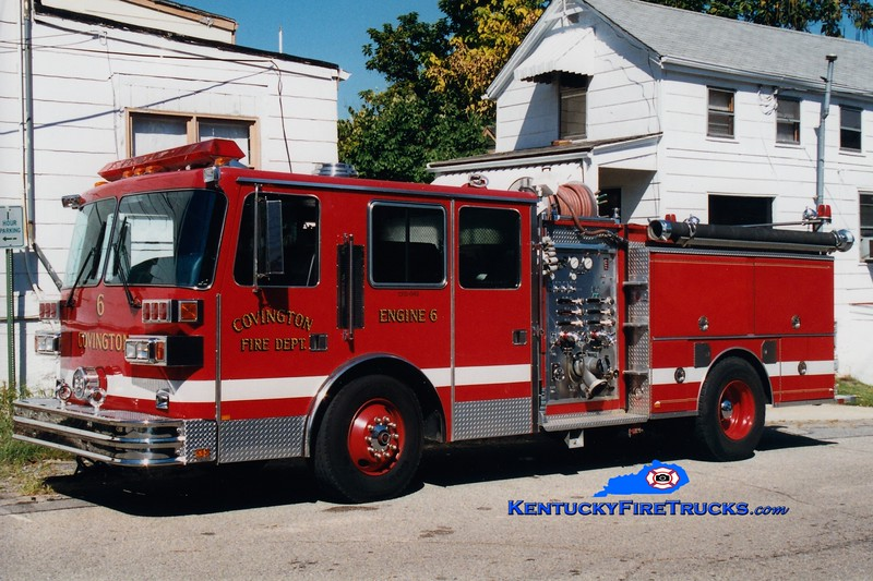 <center> RETIRED <br> Covington  Pumper 6 <br> 1992 Sutphen 1500/500  <br> Greg Stapleton photo </center>