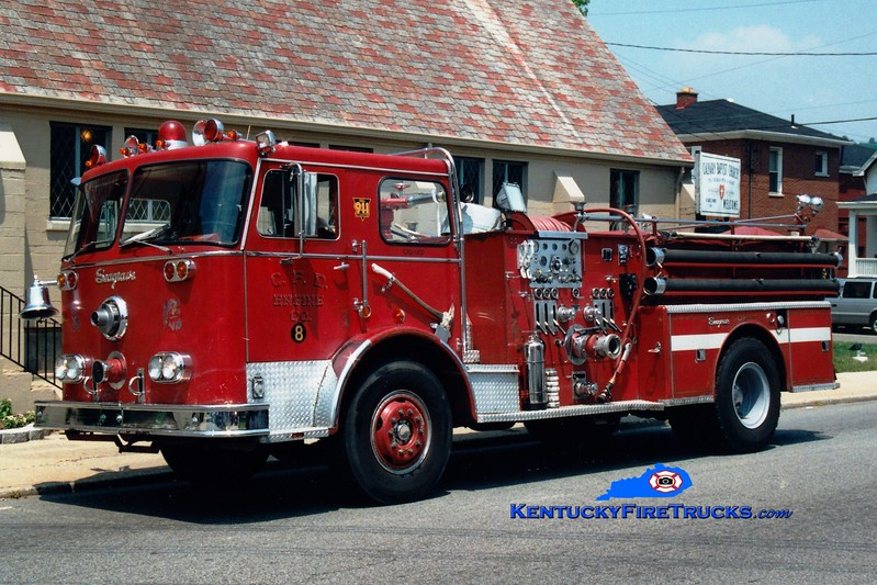 <center> RETIRED <br> Covington  Pumper 8 <br> x-Pumper 6 <br> 1970 Seagrave PB 1250/500  <br> Greg Stapleton photo </center>