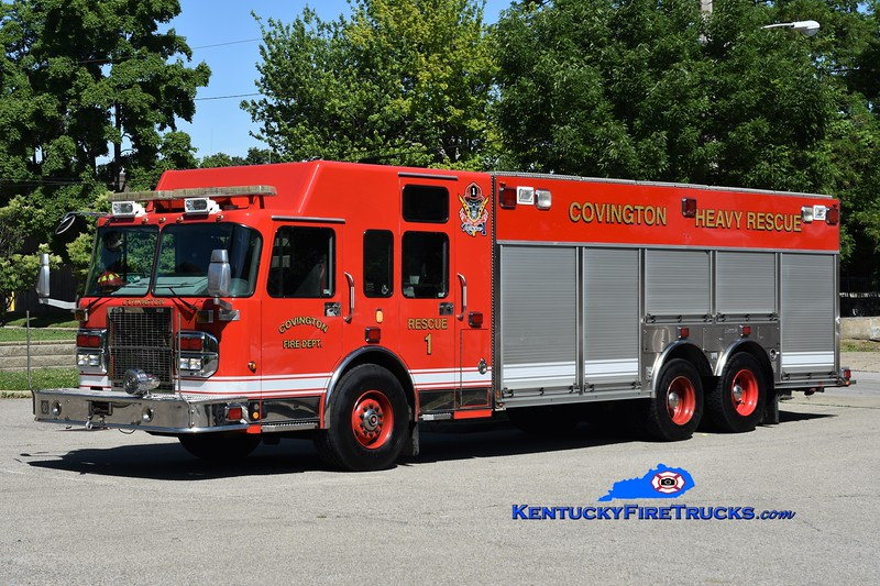 Covington  Rescue 1<br /> x-Cincinnati, OH<br /> 2008 Spartan Gladiator/Rosenbauer<br /> Greg Stapleton photo