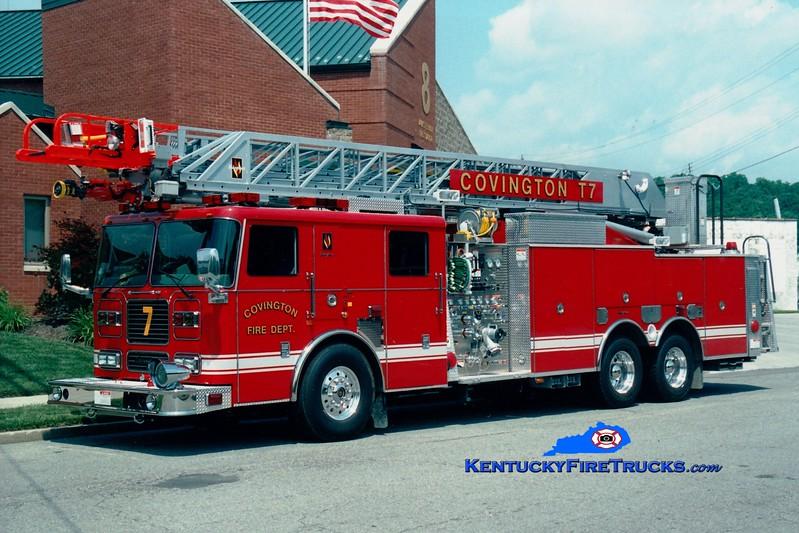 <center> Covington  Truck 7 <br> 2004 Seagrave TP 1500/300/100' <br> Greg Stapleton photo </center>