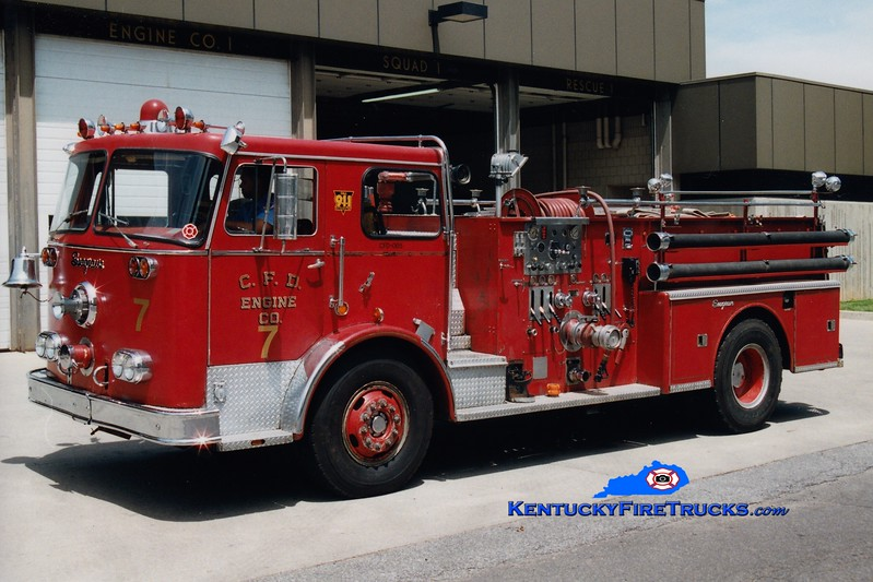 <center> RETIRED <br> Covington  Pumper 7 <br> x-Pumper 2 <br> 1970 Seagrave PB 1250/500  <br> Greg Stapleton photo </center>
