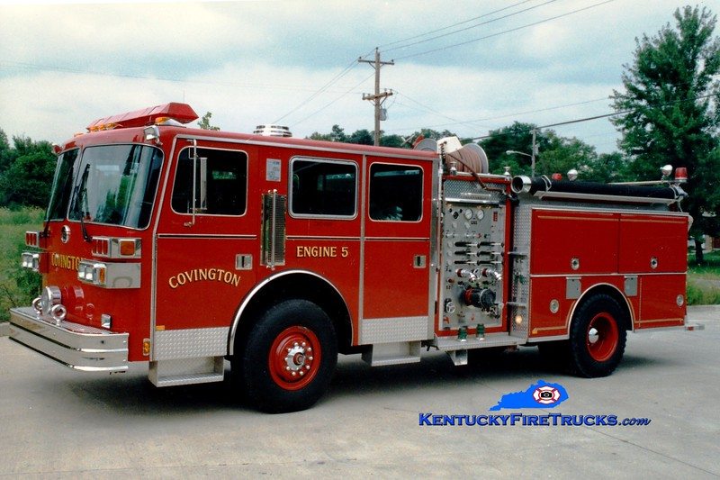 <center> RETIRED <br> Covington  <br> x-Pumper 4 and Pumper 5 <br> 1990 Sutphen Deluge 1500/750  <br> Greg Stapleton photo </center>