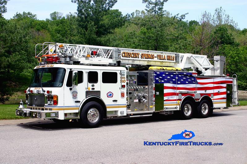 <center> Crescent Springs-Villa Hills  Truck 510 <br> 2007 American LaFrance Eagle/LTI 2000/450/50/110' <br> Kent Parrish photo </center>