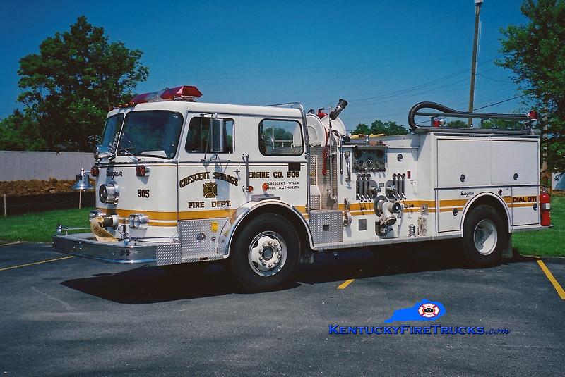 <center> RETIRED <br> Crescent Springs-Villa Hills  Engine 505 <br> 1975 Seagrave PB 1500/500 <br> Kent Parrish photo </center>