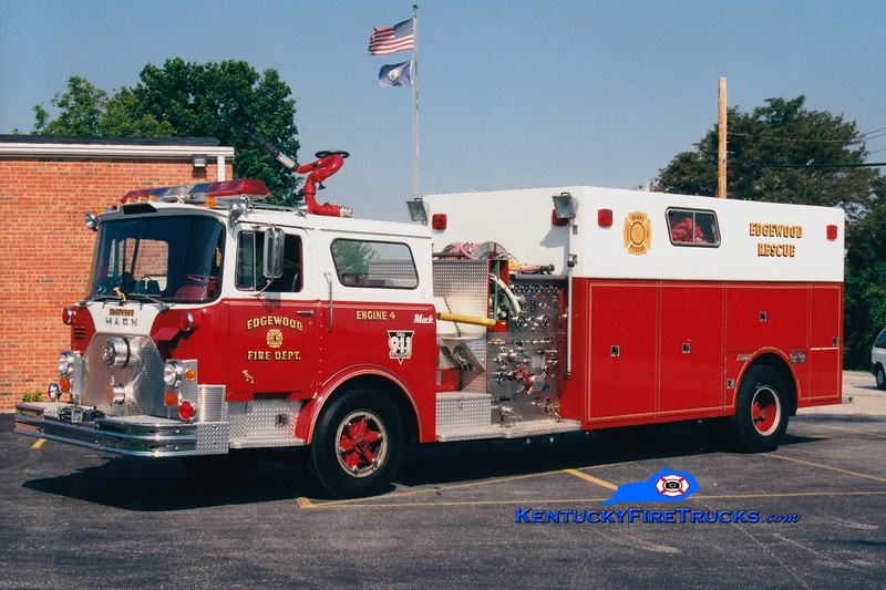 <center> RETIRED <br> Edgewood  Engine 4 <br> x-FDNY chassis; x-Southern Hills, KY <br> 1975 Mack CF/1985 Summit 1000/350  <br> Greg Stapleton photo </center>