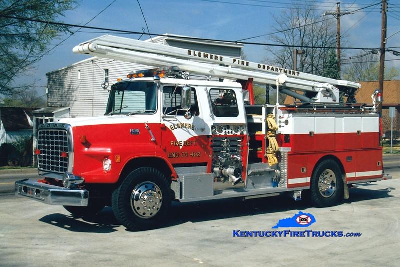 <center> RETIRED <br> Elsmere  Engine 402 <br> 1979 Ford LS/Sutphen/1992 Custom Fire 1500/500/54' Squrt (retrofit) <br> Greg Stapleton photo </center>