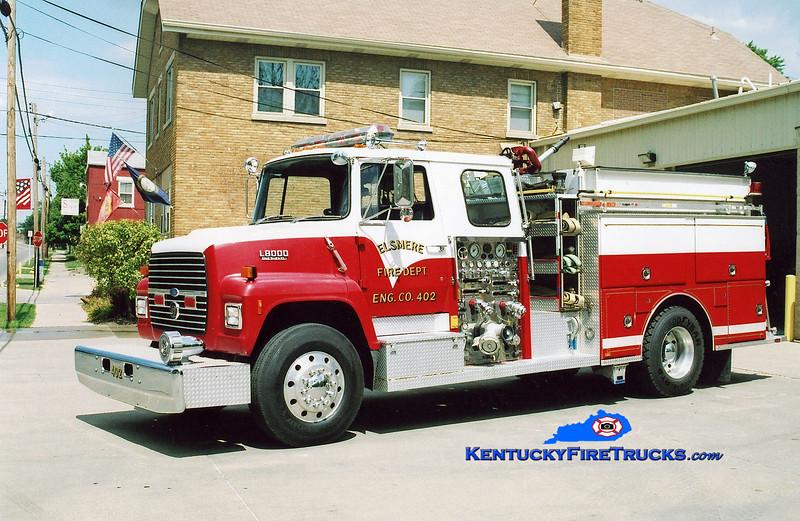 <center> RETIRED <br> Elsmere  Engine 402 <br> 1987 Ford LN8000/Sutphen 1250/750 <br> Kent Parrish photo </center>