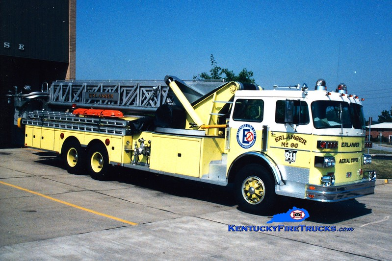 <center> RETIRED <br> Erlanger  Aerial 60 <br> 1975 Sutphen 1000/250/85' <br> Greg Stapleton photo </center>