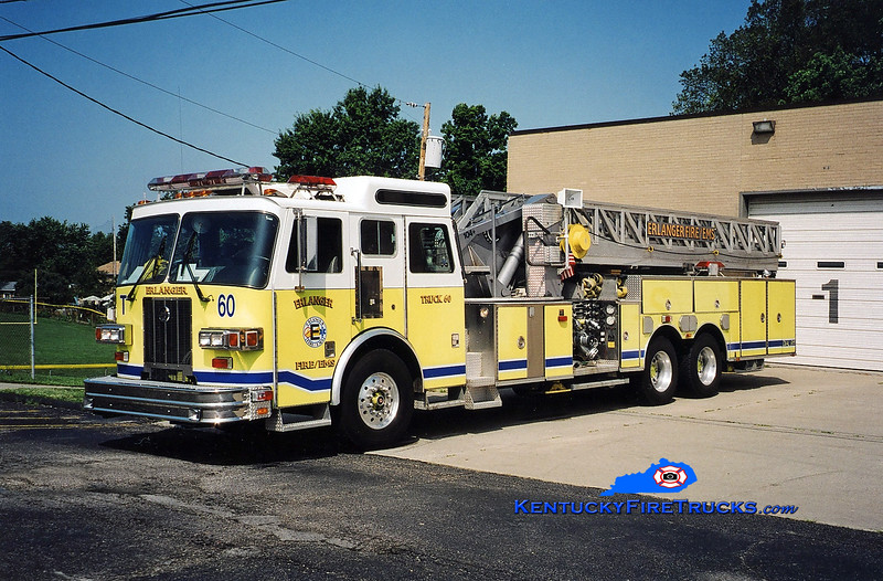 <center> RETIRED <br> Erlanger  Truck 60 <br> 1996 Sutphen 1500/500/104' <br> Kent Parrish photo </center>
