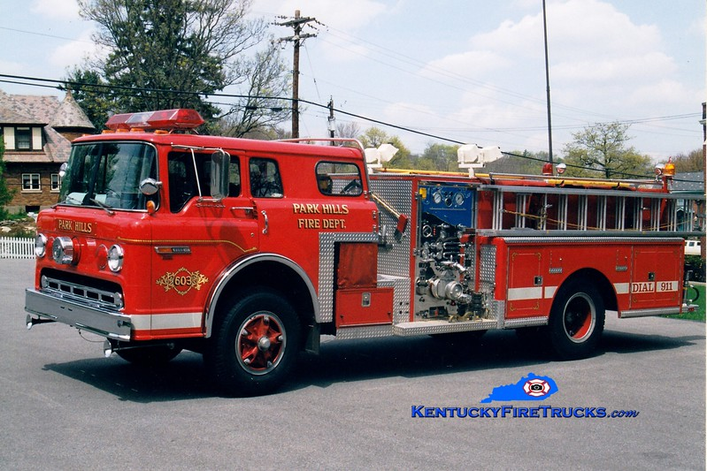 <center> RETIRED <br> Park Hills  Engine 603 <br> 1986 Ford C-8000/Sutphen 1000/300 <br> Greg Stapleton photo </center>