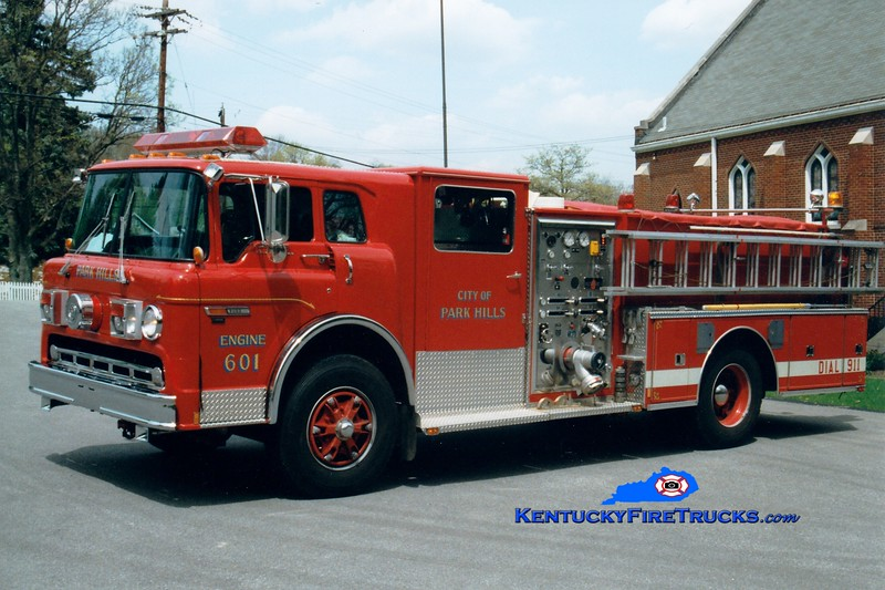 <center> Park Hills  Engine 601 <br> 1991 Ford C-8000/Sutphen 1250/500 <br> Greg Stapleton photo </center>