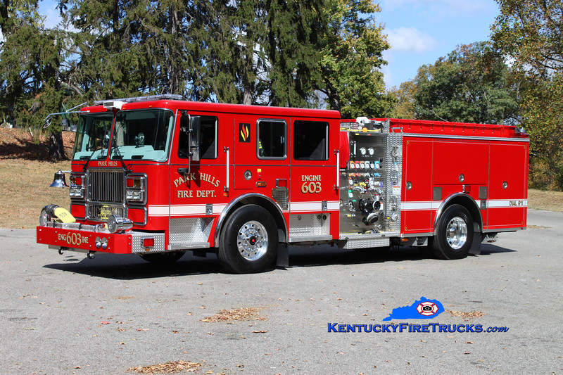 <center> Park Hills  Engine 603 <br> 2009 Seagrave Marauder II 1500/500 <br> Kent Parrish photo </center>