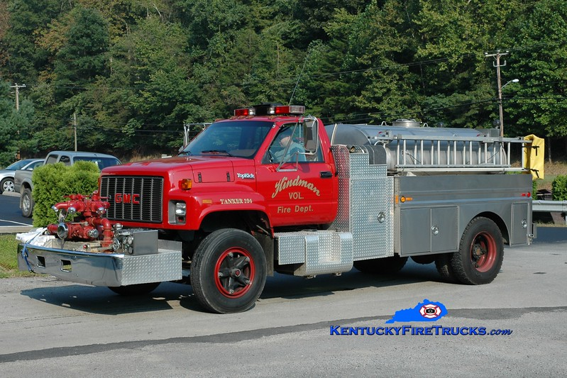 <center> Hindman  Tanker 104 <br> 1993 GMC TopKick/Bluegrass 750/1500 <br> Greg Stapleton photo </center>