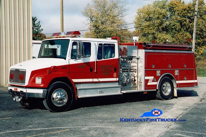 <center> Artemus  Engine 1  <br> 1992 Freightliner FL80/KME 1500/1000 <br> Greg Stapleton photo </center>
