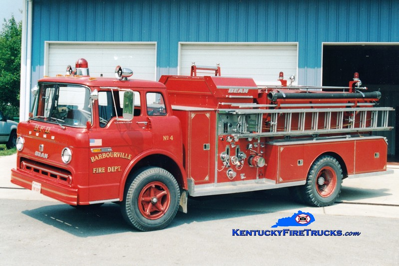 <center> RETIRED <br> Barbourville Engine 4  <br> 1972 Ford C/FMC-Bean 750/500 <br> Greg Stapleton photo </center>