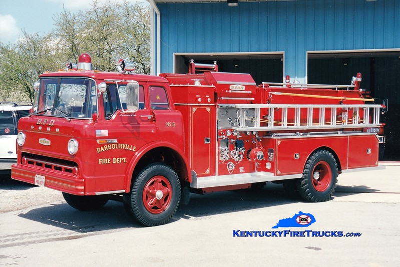 <center> RETIRED <br> Barbourville Engine 5  <br> 1974 Ford C/FMC-Bean 750/500/50 <br> Greg Stapleton photo </center>