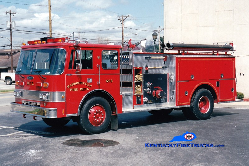 <center> Barbourville Engine 8  <br> 1988 Pierce Dash D-8000 1250/750 <br> Greg Stapleton photo </center>