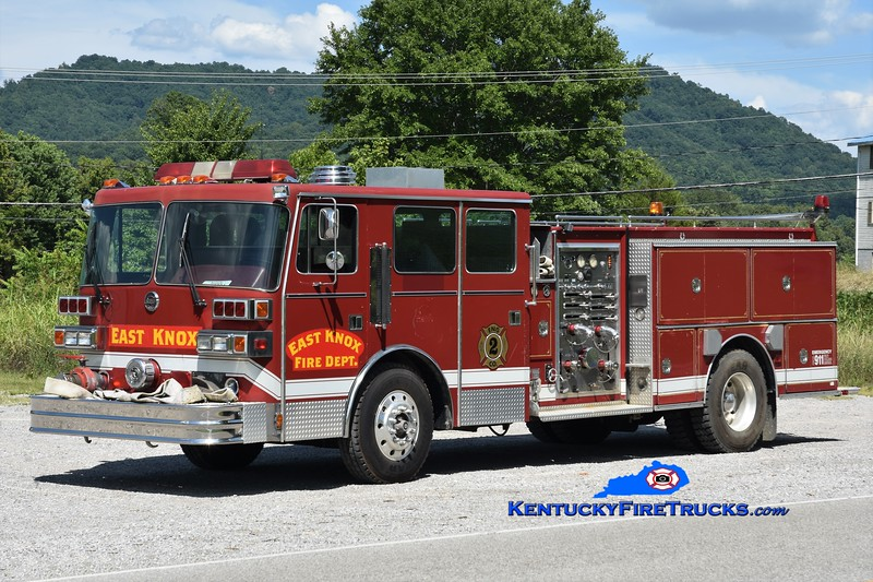 East Knox  Engine 2<br /> x-Richmond &  Bailey Switch, KY<br /> 1989 Sutphen Deluge 1500/750<br /> Greg Stapleton photo