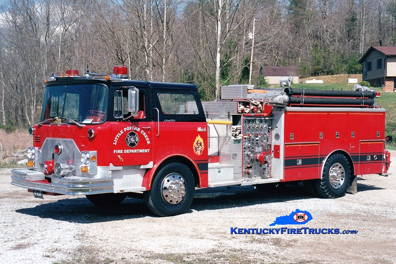 <center> Little Poplar Creek  Engine 1  <br> x-Roberts Park, IL <br> 1972 Mack CF/RPI 1000/750 <br> Greg Stapleton photo </center>